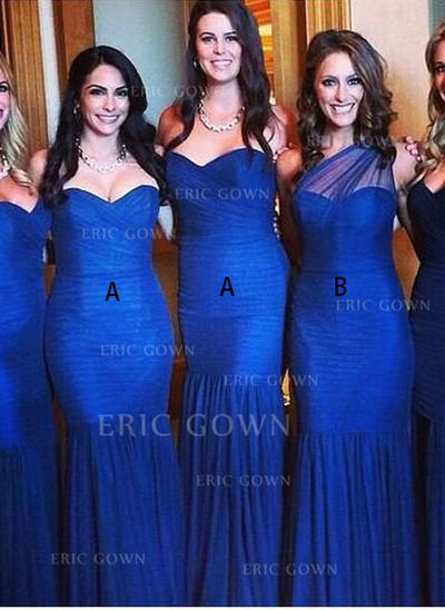 Trumpet/Mermaid Sweetheart One-Shoulder Floor-Length Bridesmaid Dresses With Ruffle (007144988)