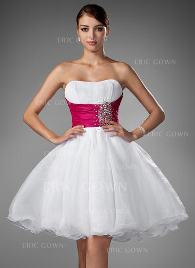 A-Line/Princess Sweetheart Short/Mini Homecoming Dresses With Ruffle Sash Beading (022214012)