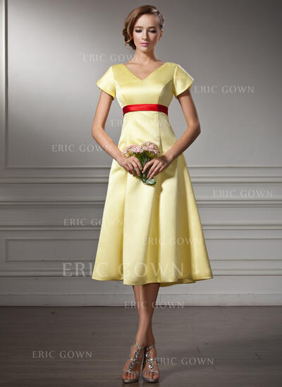 A-Line V-neck Knee-Length Satin Bridesmaid Dress With Sash Bow(s) (007001485)
