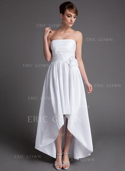 Strapless A-Line/Princess Wedding Dresses Taffeta Ruffle Flower(s) Sleeveless Asymmetrical (002025837)
