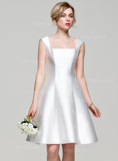 A-Line Square Neckline Knee-Length Satin Bridesmaid Dress (007072820)