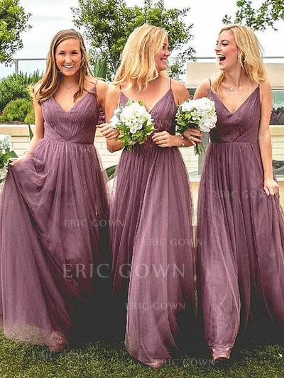 A-Line/Princess V-neck Floor-Length Tulle Bridesmaid Dresses With Ruffle (007217808)