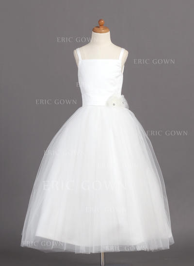 Stunning Straps Ball Gown Flower Girl Dresses Ankle-length Satin/Tulle Sleeveless (010004208)