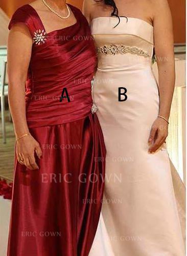 A-Line/Princess Taffeta Sleeveless Square Neckline Floor-Length Zipper Up Mother of the Bride Dresses (008212805)