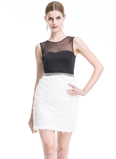 Sheath/Column Scoop Neck Short/Mini Cocktail Dresses With Beading Sequins (016079923)