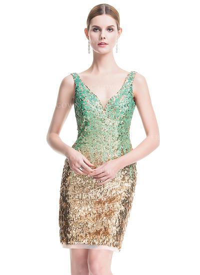 Sheath/Column V-neck Short/Mini Sequined Cocktail Dress (016076127)