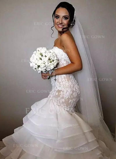 Trumpet/Mermaid Sweetheart Chapel Train Wedding Dresses With Cascading Ruffles (002146253)