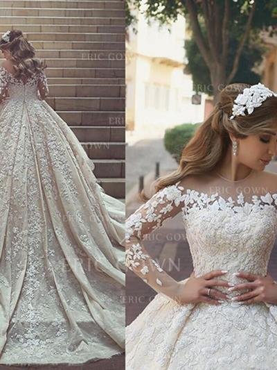 Scoop Ball-Gown Wedding Dresses Satin Lace Long Sleeves Chapel Train (002213514)