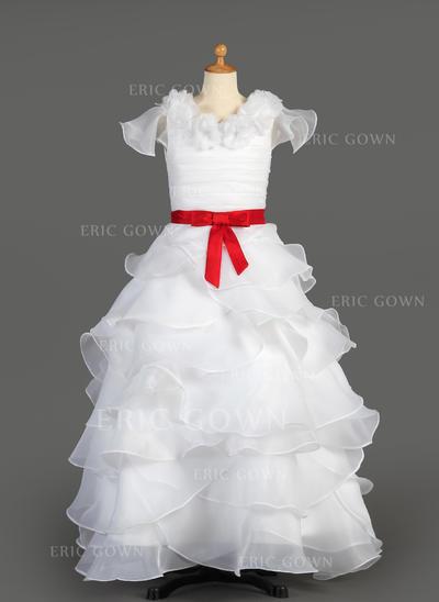 2018 New Scoop Neck A-Line/Princess Flower Girl Dresses Floor-length Taffeta/Organza Sleeveless (010007627)