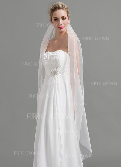 Waltz Bridal Veils Tulle One-tier Classic With Cut Edge Wedding Veils (006151932)