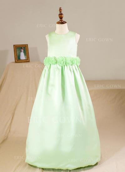 Ball Gown Scoop Neck Floor-length With Flower(s) Satin Flower Girl Dresses (010212159)