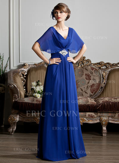 A-Line/Princess Chiffon 1/2 Sleeves V-neck Floor-Length Zipper Up Mother of the Bride Dresses (008213125)