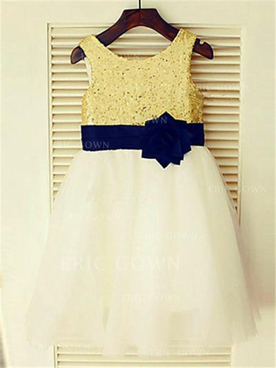 A-Line/Princess Scoop Neck Tea-length With Flower(s) Tulle/Sequined Flower Girl Dresses (010211983)