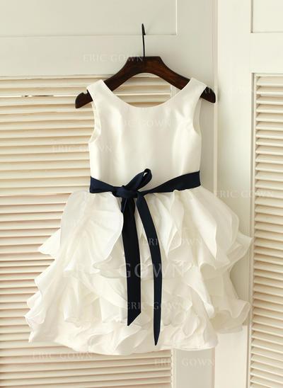 Ball Gown Scoop Neck Knee-length With Ruffles/Sash Taffeta Flower Girl Dresses (010211595)