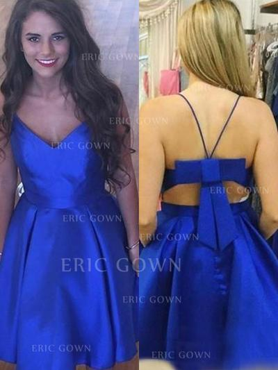 A-Line/Princess V-neck Knee-Length Homecoming Dresses With Bow(s) (022216366)