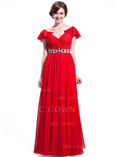 A-Line/Princess Chiffon Prom Dresses Beading Sequins Cascading Ruffles V-neck Short Sleeves Floor-Length (018025635)