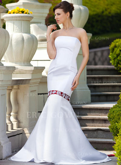 Trumpet/Mermaid Strapless Watteau Train Satin Wedding Dress With Sash Beading Appliques Lace (002011613)