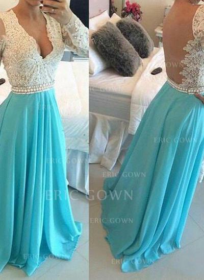 A-Line/Princess V-neck Floor-Length Prom Dresses With Beading (018212223)