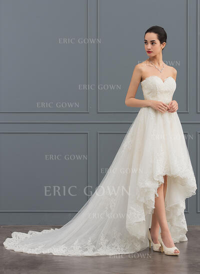 A-Line Sweetheart Asymmetrical Tulle Lace Wedding Dress With Beading (002127268)
