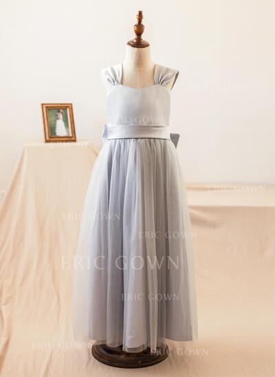 A-Line/Princess Floor-length Flower Girl Dress - Satin/Tulle Sleeveless Straps With Bow(s) (010104995)