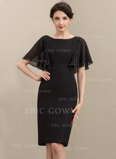 Sheath/Column Scoop Neck Knee-Length Chiffon Cocktail Dress With Beading Sequins (016208825)