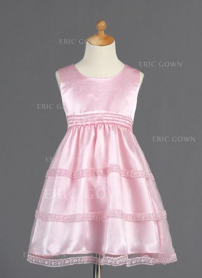 Elegant Scoop Neck A-Line/Princess Flower Girl Dresses Knee-length Tulle/Charmeuse Sleeveless (010014661)