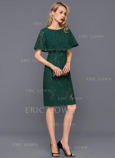 Sheath/Column Scoop Neck Knee-Length Lace Cocktail Dress (016140389)