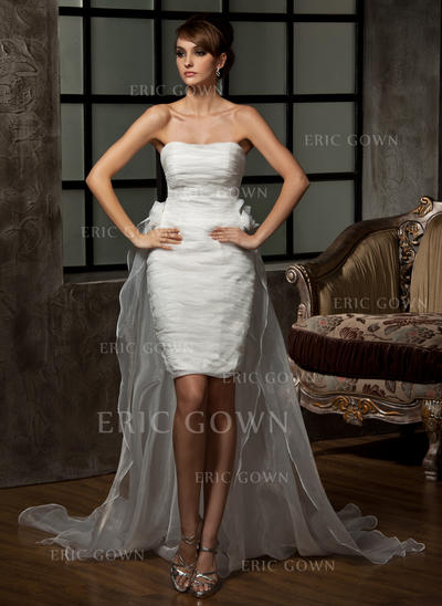 Sheath/Column Sweetheart Asymmetrical Detachable Wedding Dresses With Ruffle Flower(s) (002211264)