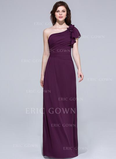 A-Line/Princess One-Shoulder Floor-Length Chiffon Bridesmaid Dress With Beading Flower(s) Cascading Ruffles (007037164)