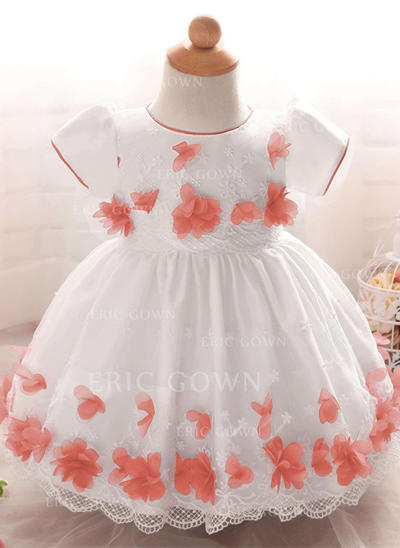 A-Line/Princess Scoop Neck Floor-length Satin Tulle Christening Gowns (2001217997)