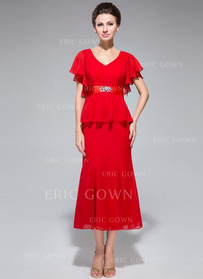 Trumpet/Mermaid Chiffon Short Sleeves V-neck Tea-Length Zipper Up Mother of the Bride Dresses (008211508)