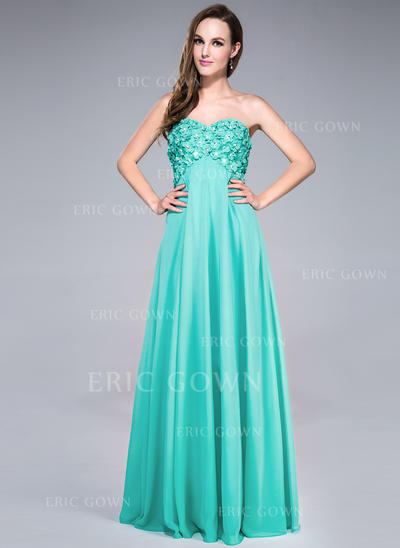 Empire Sweetheart Floor-Length Prom Dresses With Beading Flower(s) Sequins (018042690)
