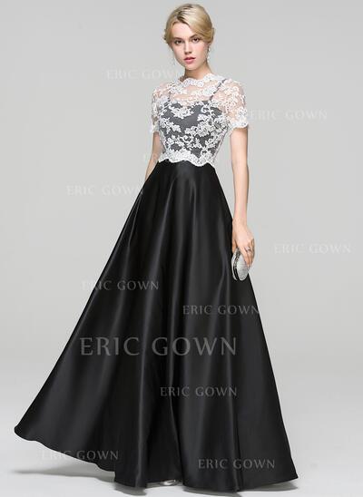 Ball-Gown Sweetheart Floor-Length Satin Evening Dress (017093489)