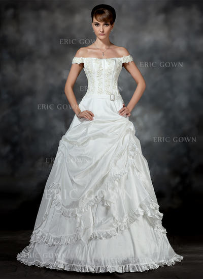 Glamorous Off-The-Shoulder Ball-Gown Wedding Dresses Court Train Taffeta Sleeveless (002196899)