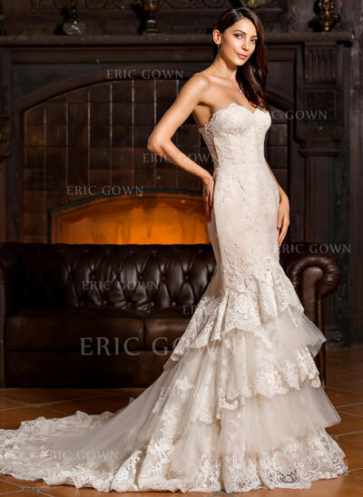 Trumpet/Mermaid Sweetheart Chapel Train Tulle Lace Wedding Dress With Cascading Ruffles (002067224)