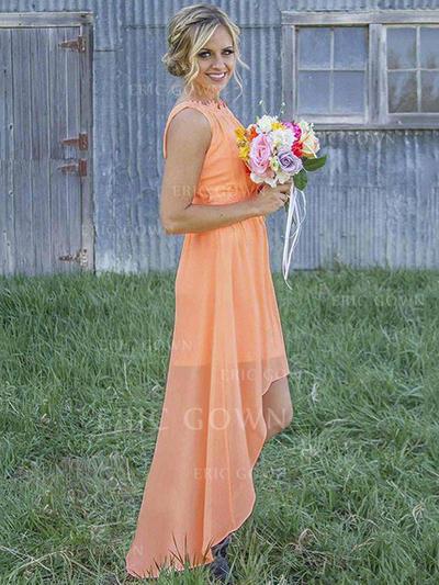 A-Line/Princess Chiffon Bridesmaid Dresses Ruffle Scoop Neck Sleeveless Asymmetrical (007211694)