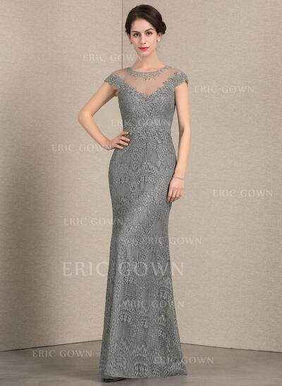 Sheath/Column Scoop Neck Floor-Length Lace Mother of the Bride Dress With Beading Sequins (008143345)