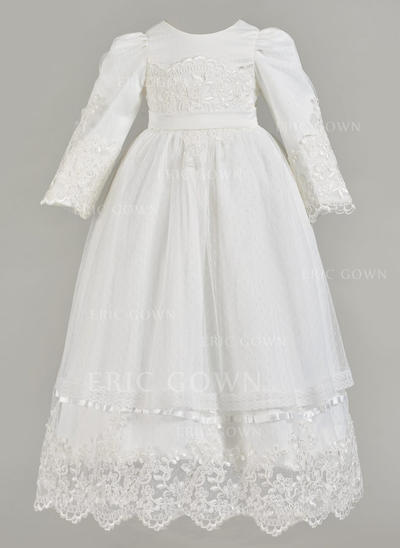 A-Line/Princess Scoop Neck Floor-length Satin Christening Gowns With Lace (2001217407)