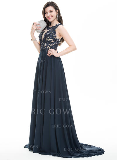 A-Line/Princess Scoop Neck Sweep Train Chiffon Prom Dresses With Beading Sequins (018105555)