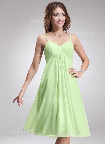 Empire Sweetheart Knee-Length Bridesmaid Dresses With Ruffle (007001924)
