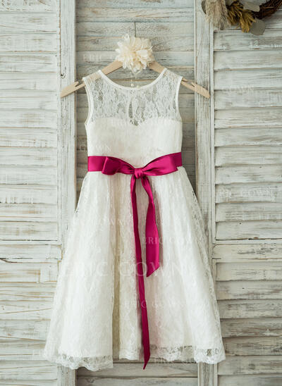 A-Line/Princess Tea-length Flower Girl Dress - Lace Sleeveless Scoop Neck With Sash (010093389)