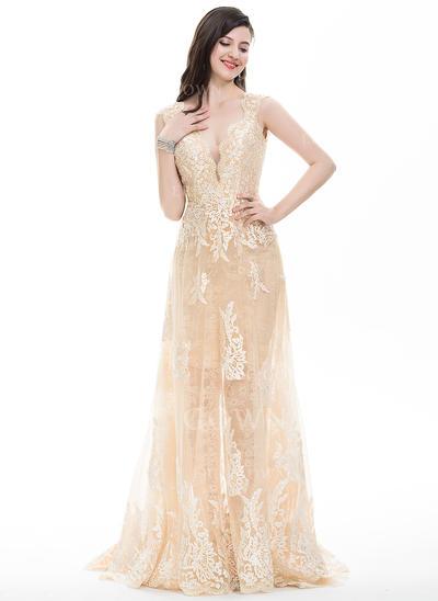 Sheath/Column V-neck Sweep Train Tulle Prom Dresses (018105685)