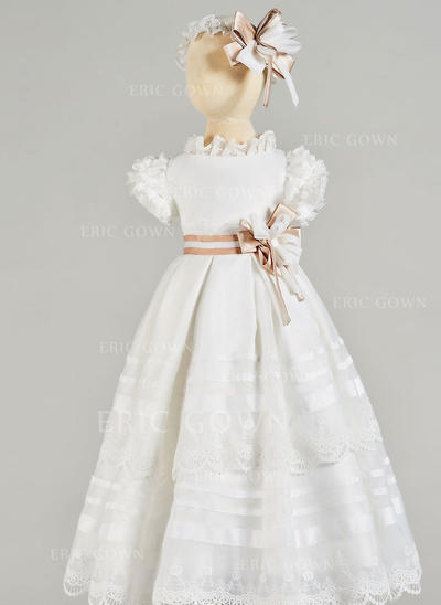A-Line/Princess Scoop Neck Floor-length Tulle Christening Gowns With Lace (2001217430)