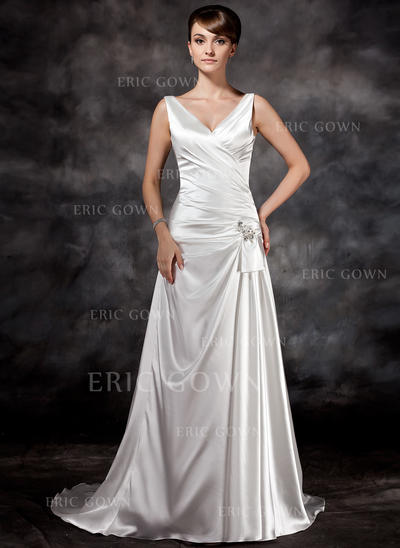 A-Line/Princess Sweetheart Court Train Wedding Dresses With Ruffle Beading Sequins (002196841)