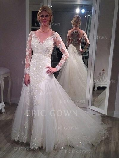 A-Line/Princess Tulle Lace Long Sleeves Scoop Court Train Wedding Dresses (002144822)