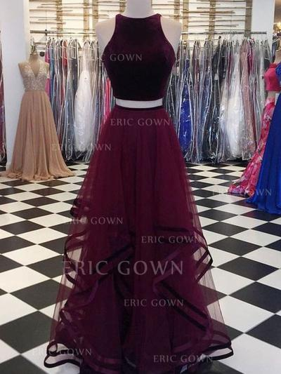 A-Line/Princess Scoop Neck Floor-Length Prom Dresses With Ruffle (018219250)