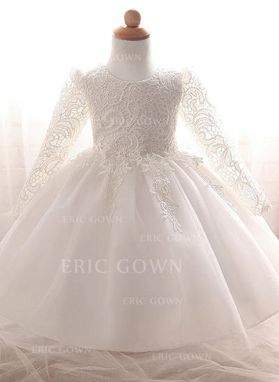 A-Line/Princess Scoop Neck Floor-length Tulle Christening Gowns (2001218013)