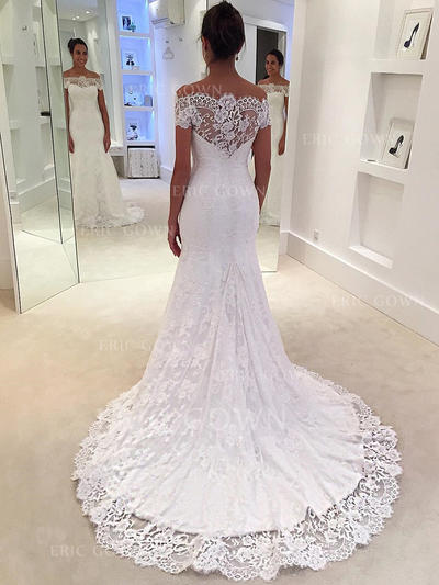 Trumpet/Mermaid Lace Sleeveless Off-The-Shoulder Court Train Wedding Dresses (002144902)
