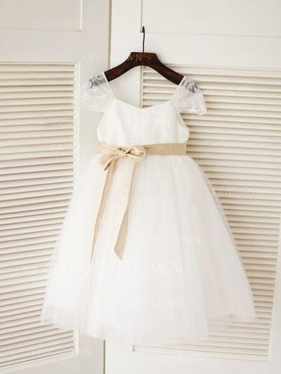 A-Line/Princess Square Neckline Knee-length With Sash Tulle Flower Girl Dresses (010211921)