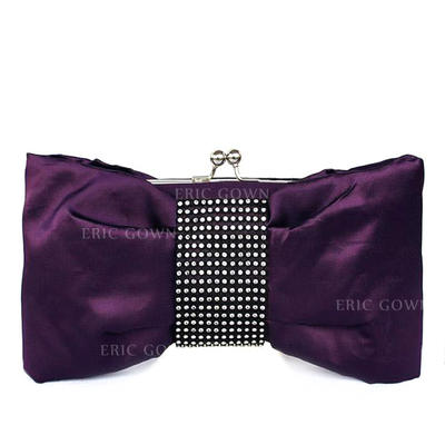Clutches Wedding/Ceremony & Party Silk Kiss lock closure Unique Clutches & Evening Bags (012184942)
